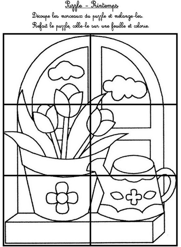 Puzzles printemps for Puzzle a colorier