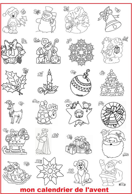 Le calendrier de l 39 avent - Calendrier de l avent coloriage ...
