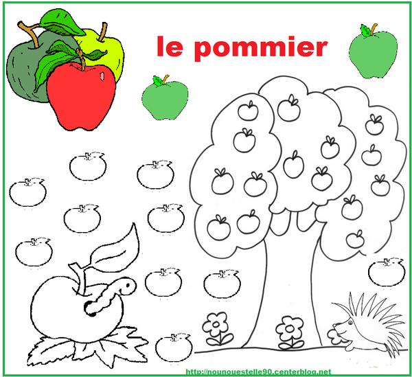 Pommier a colorier deux maisons et un pommier with - Pommier coloriage ...