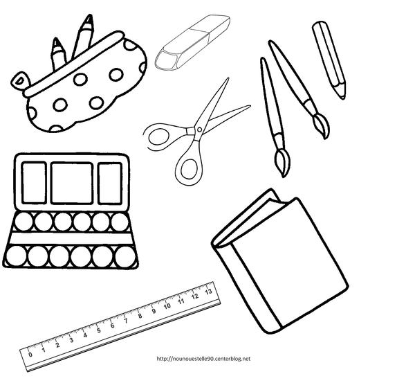 Fournitures scolaires pour le cartable colorier - Cartable a colorier ...