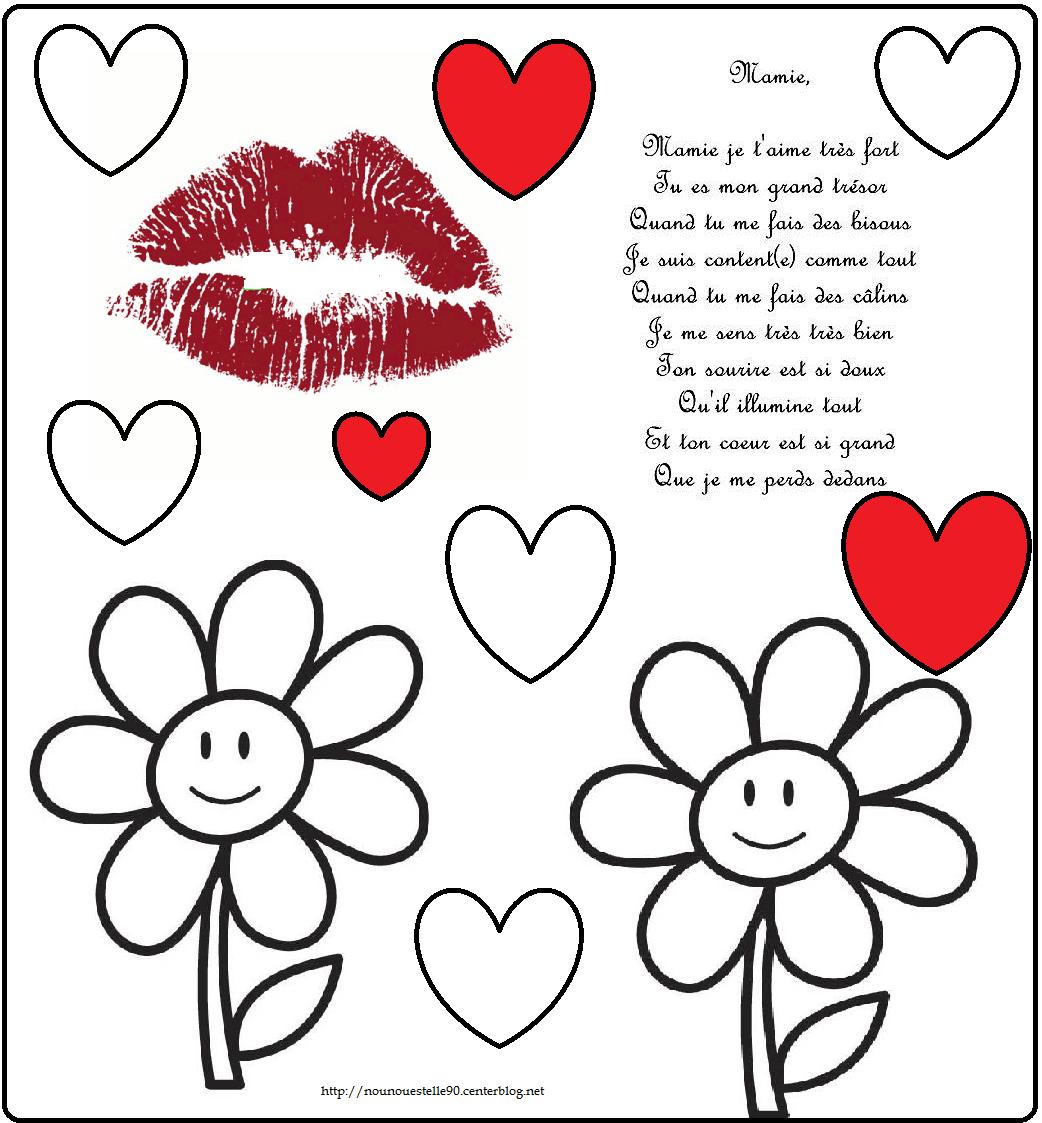 Poeme et coloriage fete des mamies - Dessin de mamie ...