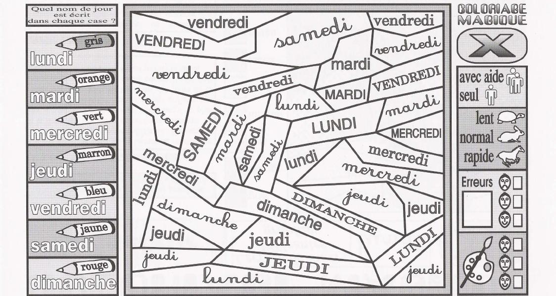 Coloriage des jours de la semaine - Coloriage magique alphabet ...