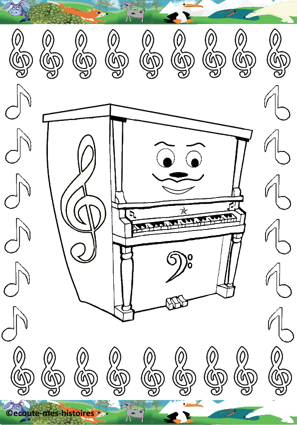 Coloriages fete de la musique - Coloriage piano ...
