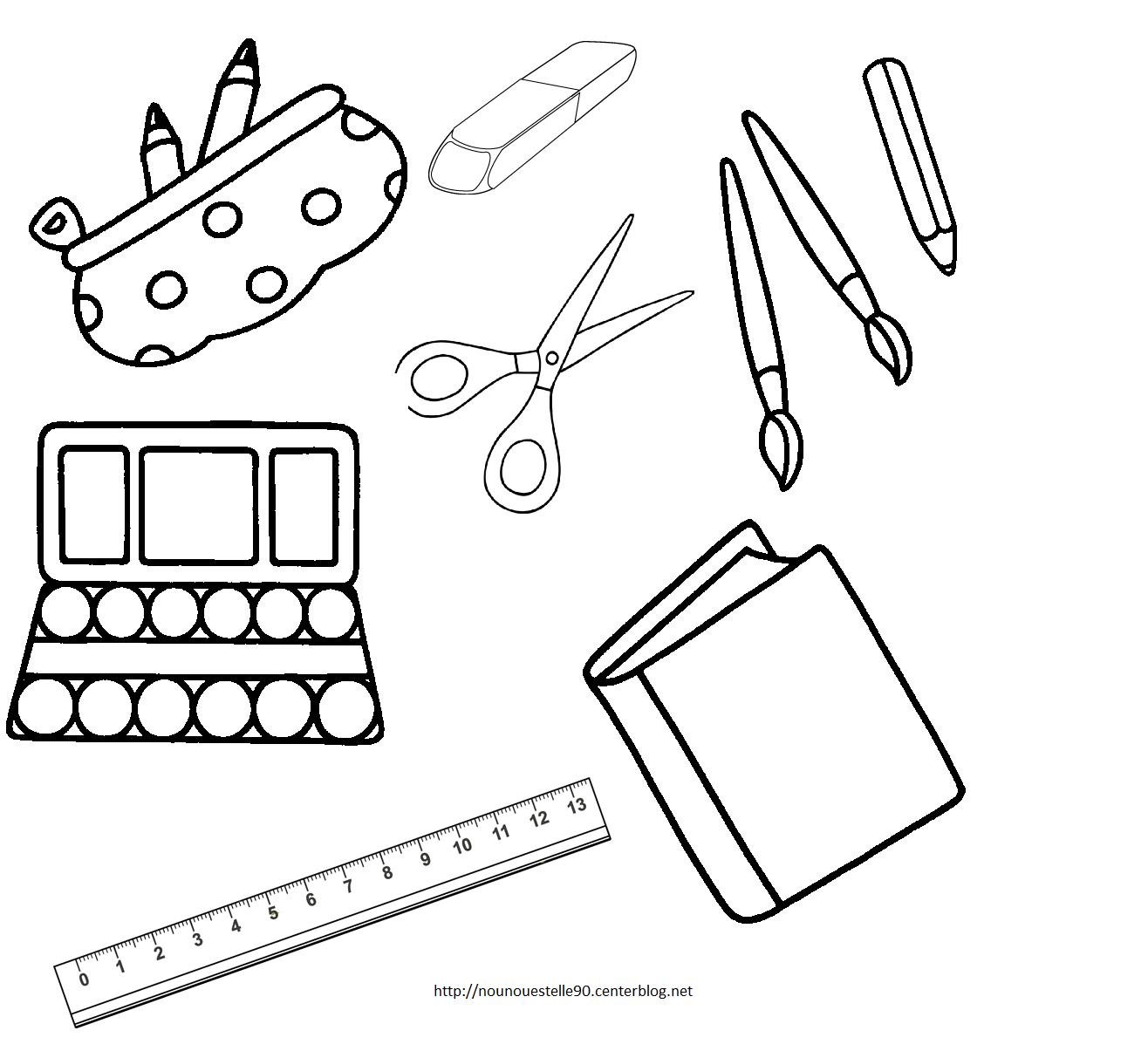 Fournitures scolaires pour le cartable colorier - Dessin d un cartable ...
